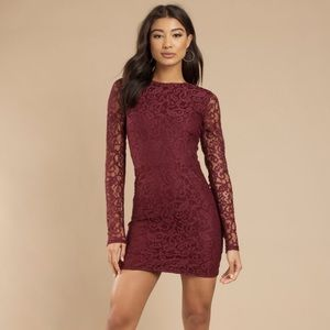 My Lace or Yours Burgundy Lace Bodycon Dress